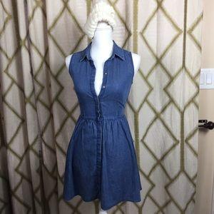 Sleeveless Denim Button Up Shirt Dress